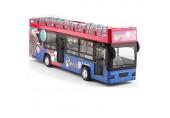 N A ZGGYA Oben-ohne-Doppeldecker-Bus-rot gelb lila Legierung Automodell Doppeldecker Public Bus Ton und Licht Pull Back Viertürige Kind Simulation Spielzeug-Auto (Color : Rot)