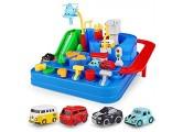 sympuk Autorennbahnspielzeug Interaktive Und Lehrreiche Spielzeugrennwagen Für Kleinkinder Erstes Geburtstagsgeschenk für 1 2 3 4-jährige Jungen Mit 4 Autos Und Flugzeugen Designer
