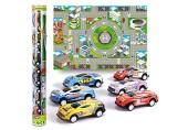 Vanplay Auto Spielzeug mit 6 Autos und Autokarte Pull Back Fahrzeuge Zurück Geburtstag Weihnachten Geschenk für Kinder Jungen Mädchen 3 Jahre