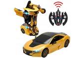 DREAMADE Roboter Auto mit Fernbedienung Mercedes-Benz Ferngesteuertes Auto Transform Roboter Elektrofahrzeug Smart Robot Car Spielzeug Roboter-Auto 2.4G 1:14 GT3 (Gelb)