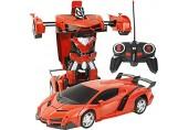 ZXZXZX Verformtes Robotermodell 2 In 1 Elektrische RC-Automobiltransformation Roboter Kinder Jungen Spielzeug Im Freien Fernbedienung Sportverformung Auto Roboter Modell Spielzeug (Color : Orange)