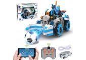 Ferngesteuerter Rennauto Bauset STEM 4x4 Allrad Fußball Spielzeugauto GRESAHOM App-gesteuertes Konstruktionsbausatz mit programmierbaren interkativen Rennwagen 360 ° Drehbares Rennwagen für Kinder