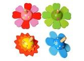 STOBOK Bunte Blume Kreisel Kinder Neuheit Holz Kreisel 4 Stück