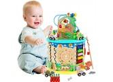 Arkmiido Holzwürfel Spielzeug für Kinder Motorikwürfel 11-in-1 Multifunktionsperlen Labyrinth Dinosaurier World Holz Aktivitätswürfel Pädagogisches Spielzeug Jungen und Mädchen Kleinkind Geschenk