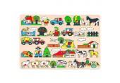Bino & Mertens 88073 Steckpuzzle Bauernhof Spielzeug für Kinder ab 3 Jahre Kinderspielzeug (Maxi-Holzspielzeug mit Bildern rund um den Bauernhof unterschiedliche Formen und Gestalten besonders groß) Mehrfarbig