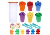 Camelize Bären Zählen 71 Stück Montessori Mathe Spielzeug Bunte Regenbogen Zählen Bären Spiel mit passenden Bechern Würfeln und Pinzetten Perfect Math Skills Games Educational