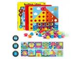 Fansteck Mosaik Steckspiel für Kinder für 1 2 3 Jahre Steckmosaik mit 46 Steckperlen und 12 Bunten Steckplätte Mosaiksteine Pädagogische Baustein Sets Lernspielzeug Geschenke für Junge Mädchen