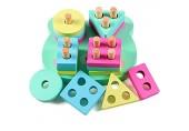 Lewo Holzpuzzles Geometrisches Stapel Steckspiel Farben und Formen Sortierspiel Lernspielzeug für Kleinkind Kinder