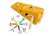 Mengger Montessori Aktivität Holzkäsespielzeug Holz Fädelspiel Kinder Einfädeln Spielzeug Kinder Frühes Lernen Pädagogisches Holzblock Puzzles Spielzeug mit 8Pcs Pfeifen
