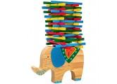Natureich Elefant Montessori Stapel Spielzeug aus Holz zum Geschicklichkeit Lernen mit Stäbchen Bunt / Natur ab 3 Jahre für die frühe Motorik Entwicklung & Ausbildung Ihres Kindes (Blau)