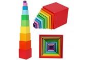Toys of Wood Oxford Holzstapelbox Regenbogen-Farben-Nesting und Sorting Cups Blöcke für Kleinkinder-Stacking Würfel Educational Lernen Spielzeug für 2 Jahre alt Montessori-Materialien