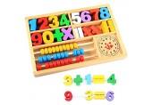 HSKB Mathematik HolzSpielzeug Holzperlen Kinder Holz Zählrahmen Rechenmaschine Lernspielzeug Abacus für Junge Mädchen ab 3 4 5 Jahren