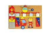 Bino Hammerspiel Feuerwehr Kinder Spielzeug ab 3 Jahre (Holzspielzeug mit 168 Teilen inklusive bunte Holzblättchen vielfältige Formen Kinderspielzeug mit Hammer & Nägeln) Mehrfarbig