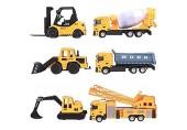 deAO 6 Druckguss-Bauwagen-Spielset - Enthält Gabelstapler Mischer Lader Dumper Bulldozer Kran und Verkehrszeichen - EIN großer Spaß für Kinder