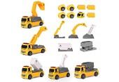 m zimoon Baufahrzeuge Spielzeug 13 Stück Ingenieurwesen Magnetisches Auto LKW Spielset mit Hebekran Bagger Bulldozer Tip-up Truck Spielzeug für Kinder im Alter von 3 Jahren Kleinkinder
