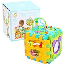 BENGKUI Baby Activity Cube Kleinkindspielzeug - 6 in 1 Form Sortierspielzeug Baby Activity Spielzentren für Kinder Kleinkinder Frühe Entwicklung Pädagogische Musik Spielwürfel Vorschulspielzeug