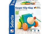 Selecta 62022 Kasper Klip-Klap Nachzieh Igel Schiebe-und Nachziehspielzeug aus Holz 16 cm