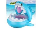 Baby Schwimmring,Baby schwimmring aufblasbarer Aufblasbarer Hai Schwimmsitz Kinderboot Kinder Schwimmhilfe Baby schwimmring mit Sonnenschutz.