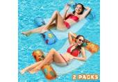 lenbest 2-Pack Wasserhängematte EIN-klick-Aufblasen Ultrabequeme Luftmatratze Matte Schwimmende Bett Schwimmbad Pool Liege Lounge Chair Float Stuhl Sommergeschenk für Erwachsene Kinder