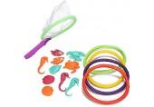com-four® 15-teiliges Tauchlernset Tauchspielzeug für Kinder Tauchringe und lustige Tauchtiere Unterwasserspielzeug [Auswahl variiert] (Set 15-teilig - Ringe und Fische fangen)