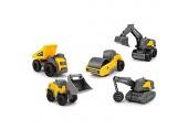 Dickie Toys Volvo Micro Workers 5er Spielzeugset Bagger Baustelle Set Baufahrzeuge Baustellenauto Kinder Baustellenfahrzeuge Geschenkset für Kinder ab 3 Jahren gelb/grau